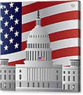 Washington Dc Capitol Us Flag Background Acrylic Print