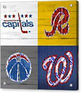 Washington Dc Sports Fan Recycled Vintage License Plate Art Capitals Redskins Wizards Nationals Acrylic Print