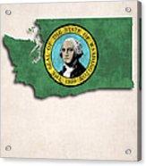 Washington Map Art With Flag Design Acrylic Print