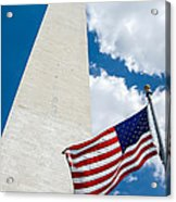 Washington Monument And Flag Acrylic Print