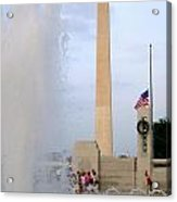 Washington Monument At The Wwii Memorial Acrylic Print