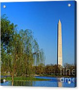 Washington Monument From Constitution Gardens Pond Acrylic Print