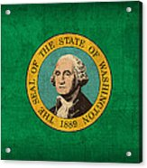 Washington State Flag Art On Worn Canvas Acrylic Print