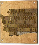Washington Word Art State Map On Canvas Acrylic Print