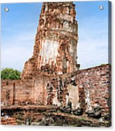 Wat Mahathat Temple In Ayutthaya Acrylic Print
