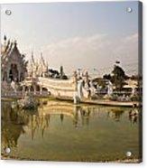 Wat Rong Khun And Its Reflection In Chiang Rai Thailand  Acrylic Print