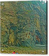 Watching Climbers From Ocean Floor At Cape Enrage-nb Acrylic Print