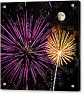 Watching Pink And Gold Explosion - Fireworks And Moon II Acrylic Print
