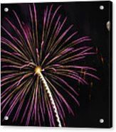 Watching Pink And Gold Explosion - Fireworks And Moon I  Acrylic Print
