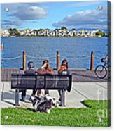 Watching The Bikes Go By At Congressman Leo Ryan's Memorial Park Acrylic Print