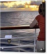 Watching The Sunrise At Sea Acrylic Print