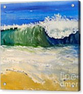 Watching The Wave As Come On The Beach Acrylic Print by Pamela  Meredith