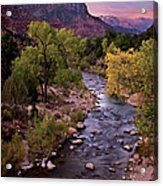 Watchman  Tower Zion Sunrise Acrylic Print by Dave Dilli