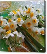 Water Drops On A Bouquet Acrylic Print