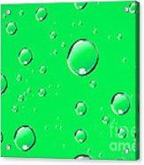 Water Drops On Green Acrylic Print