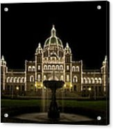 Water Fountain By Parliament Buildings In Victoria Bc Acrylic Print