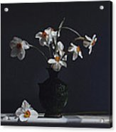 Water Jug With Narcissus   Acrylic Print by Larry Preston