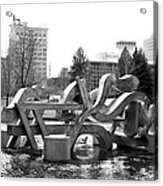 Water Sculpture In Spokane Acrylic Print