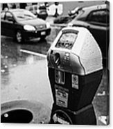 water soaked coin and credit card parking meter on the streets of downtown Vancouver BC Canada Acrylic Print by Joe Fox