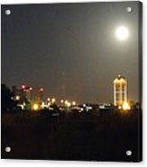 Water Tower Town At Night Acrylic Print
