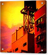 Water Tower With Orange Sunset Acrylic Print