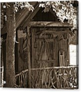 Water Wheel Shed I Sepia Acrylic Print