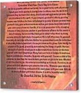 Watercolor Desiderata On Fuchsia Strokes Acrylic Print