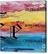 Watercolor E And Serenity Prayer Acrylic Print