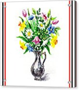 Watercolor Flowers Bouquet In Metal Pitcher Impressionism Acrylic Print