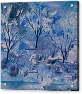 Watercolor - Icy Winter Landscape Acrylic Print
