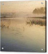 Watercolor Landscape Of Lake In Mist With Sun Glow At Sunrise Acrylic Print