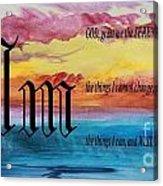 Watercolor M And Serenity Prayer Acrylic Print