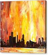 Watercolor Painting Of Skycrapers Of Downtown Chicago As Viewed  Acrylic Print