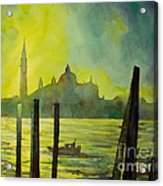 Watercolor Painting Of The Dome Of San Giorgio Maggiore Church I Acrylic Print