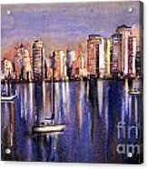 Watercolor Painting Of Vancouver Skyline Acrylic Print