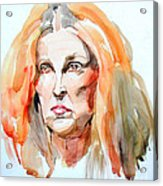 Watercolor Portrait Of A Mad Redhead Acrylic Print