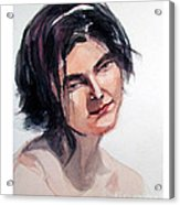 Watercolor Portrait Of A Young Pensive Woman With Headband Acrylic Print