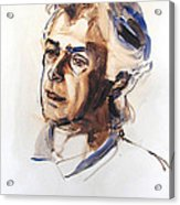 Watercolor Portrait Sketch Of A Man In Monochrome Acrylic Print