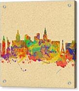 Watercolor Skyline Of Las Vegas Nevada  Usa Acrylic Print