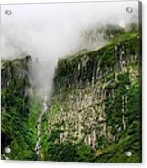 Waterfall And Clouds Acrylic Print