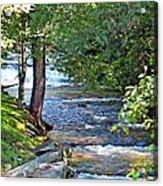 Waterfall And Hammock In Summer Acrylic Print