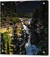 Waterfall And Mountain In Jasper Acrylic Print