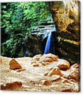 Waterfall At Cliff Side Acrylic Print