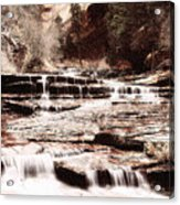 Waterfall In Sepia Acrylic Print