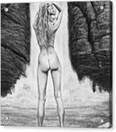 Waterfall Pin Up Girl Acrylic Print