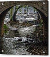 Waterfall Under Railroad Tracks Acrylic Print