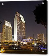 Waterfront Hotels At Night Acrylic Print