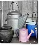 Watering Cans And Buckets Acrylic Print