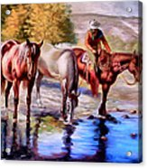 Watering The Horses Acrylic Print
