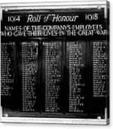 Waterloo Roll Of Honor 1914 1918 Acrylic Print
